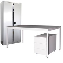 Inrichtingsset Steinbock®, bureau inclusief rolcontainer +draaideurgarderobe