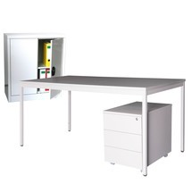 Inrichtingsset Steinbock®, bureau inclusief rolcontainer +zijgarderobe