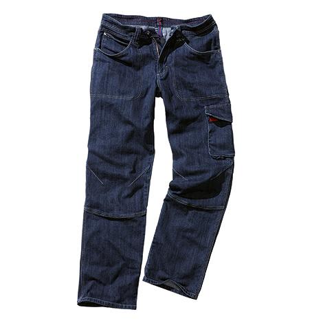 Jeans-Bundhose denim-blau, Oberschenkeltasche