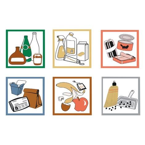 Juego de etiquetas adhesivas para contenedor de reciclaje stumpf®