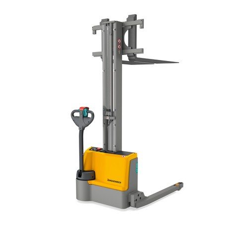 Jungheinrich EJC M10b E straddle arm electric stacker truck – single-stage mast, lithium-ion