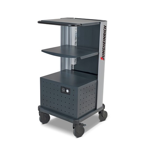 Jungheinrich mobile workstation, with roller-mounted battery changing system
