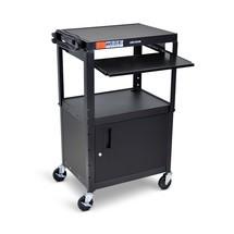 Justerbart kontors- och dokumentvagn i tre nivåer med utdragbart tangentbordsfack och basskåp