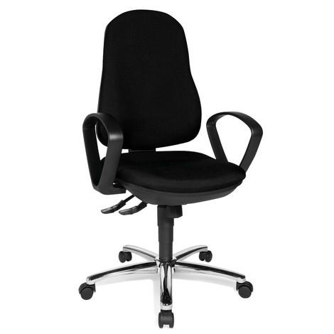 Kancelárska otočná stolička Topstar® Syncro-Steel II, čalúnené operadlo