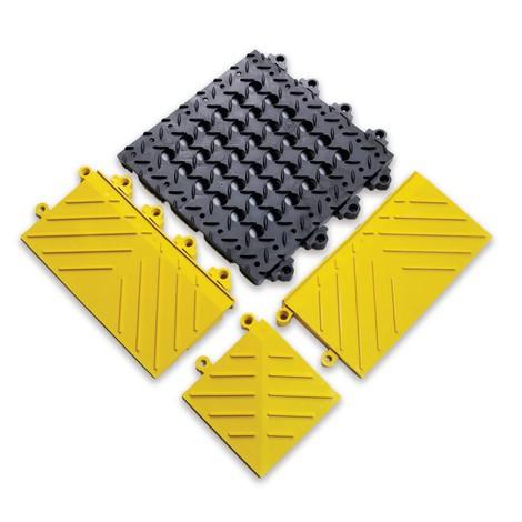 Kant-/hörnstycke för kopplingsbart golvplattsystem