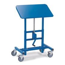 Kantelbare materiaalstandaard met wielen. Capaciteit 250kg, hoogte 67-102,5cm