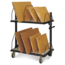 Kartonagen-Magazin, kurz, 3 Ebenen, mit Schiebebügeln für ca. 300 Faltschachteln