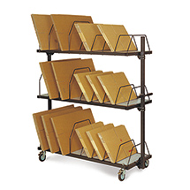 Kartonagen-Magazin, lang, 2 Ebenen, mit Schiebebügeln für ca. 320 Faltschachteln