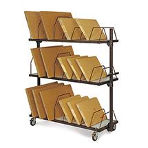 Kartonagen-Magazin, lang, 3 Ebenen, mit Schiebebügeln für ca. 480 Faltschachteln