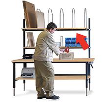 Kartonmagazin mit 6 Bügeln für Packtische Ameise ®, 1770x400mm