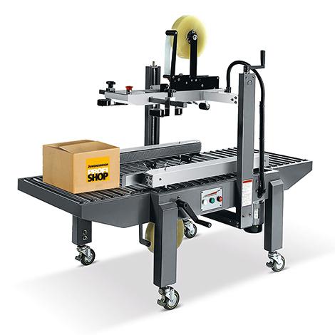 Kartonverschlussmaschine mit manueller Formateinstellung