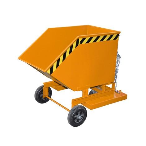 Kassevogn, der kan vippes, med chassis + gaffellommer, volumen 0,25 m³