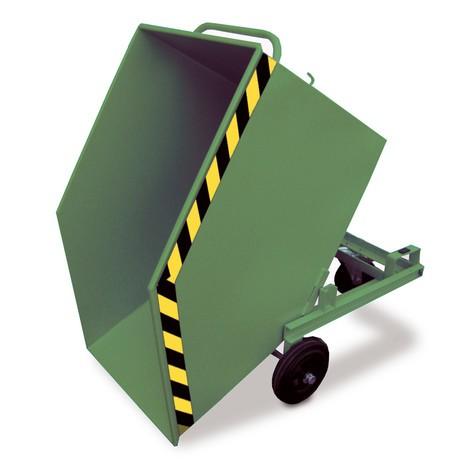 Kassevogn, der kan vippes, med chassis + gaffellommer, volumen 0,4 m³