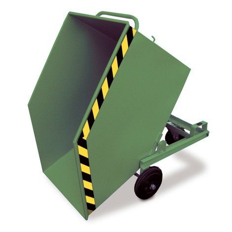 Kassevogn, der kan vippes, med chassis + gaffellommer, volumen 0,6 m³