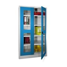 Kast met opensl.deuren en kijkvensters, 195x120x60cm (hxbxd)