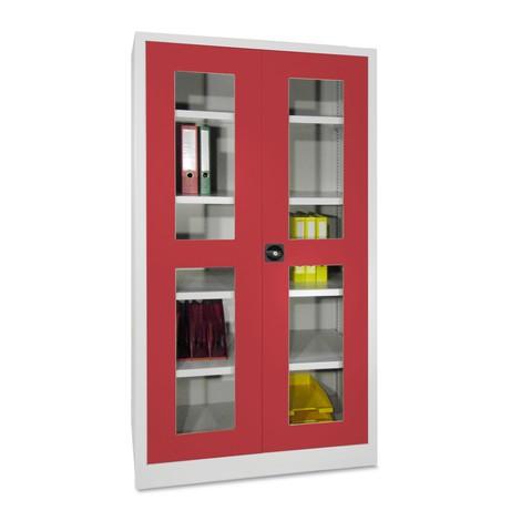Kast met opensl.deuren+kijkvenster PAVOY,4 legbd,195x64x40cm