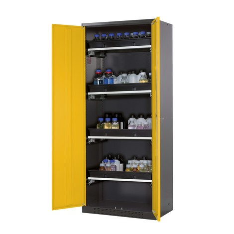 Kast voor chemische en giftige stoffen asecos® met uittrekbare legborden, hxbxd 1.950 x 810 x 520 mm