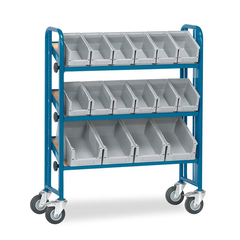 Kasten-Montagewagen fetra® 1-seitig mit 16 Kästen. 3 Etagen, Tragkraft 250kg
