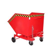 Kastenwagen kippbar, mit Fahrwerk + Gabeltaschen, Volumen 1 m³