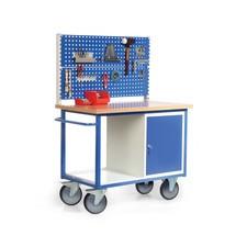 Kastwagen met 2 perfoplaten + kast + aflegbord. Capaciteit 500 kg