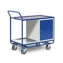 Kastwagen met kast + 2 etages, rubberen wielen, cap. 300kg