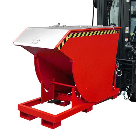 Kippbehälter mit Abrollautomatik & Deckel, Volumen 0,75m³, lackiert