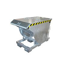 Kippbehälter mit Abrollmechanik mit Deckel, tiefe Bauform. Volumen bis 2m³