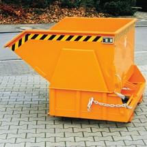 Kippbehälter mit Abrollmechanik Premium, breite Bauform, lackiert, ohne Deckel, Volumen 0,5 m³