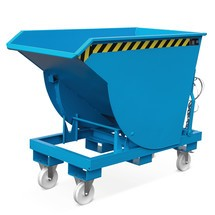 Kippbehälter mit Abrollmechanik Premium, tiefe Bauform, lackiert, ohne Deckel, Volumen 1,5 m³