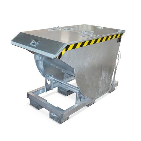 Kippbehälter mit Abrollmechanik Premium, tiefe Bauform, verzinkt, mit Deckel