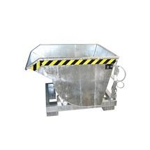 Kippbehälter mit Abrollmechanik Premium, tiefe Bauform, verzinkt, ohne Deckel