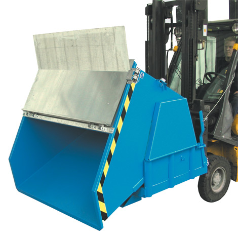 Kippbehälter mit Deckel, Tragkraft 2000 kg, Volumen 1,5 m³, lackiert