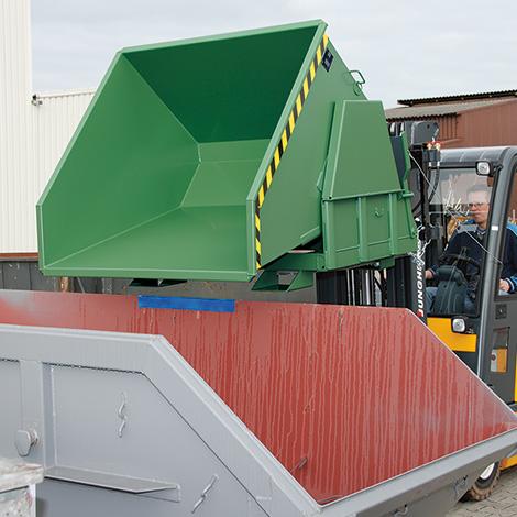 Kippbehälter ohne Deckel, Tragkraft 1000 kg, Volumen 0,5 m³, lackiert