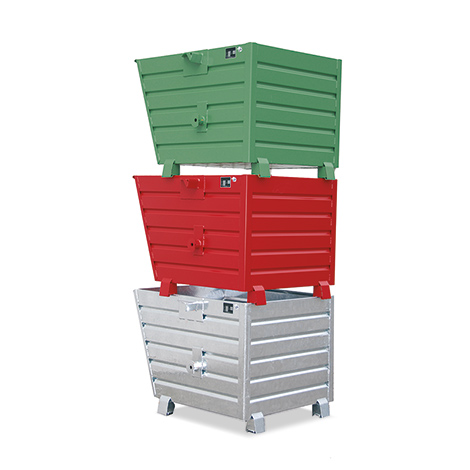 Kippbehälter stapelbar, Tragkraft 2000 kg, Volumen 0,9 m³, lackiert