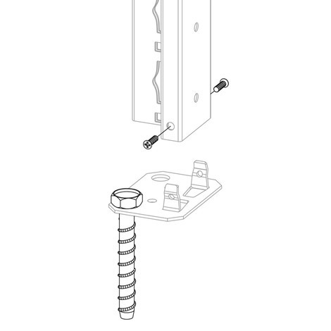 Kit de montaje en suelo para estanterías SCHULTE con sistema de encajado|sistema de ensamblajes