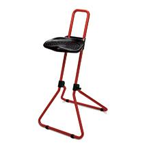 Klappbare Stehhilfe, ergon. geformter PU-Sitz, arretierbare Höhenverst., rot