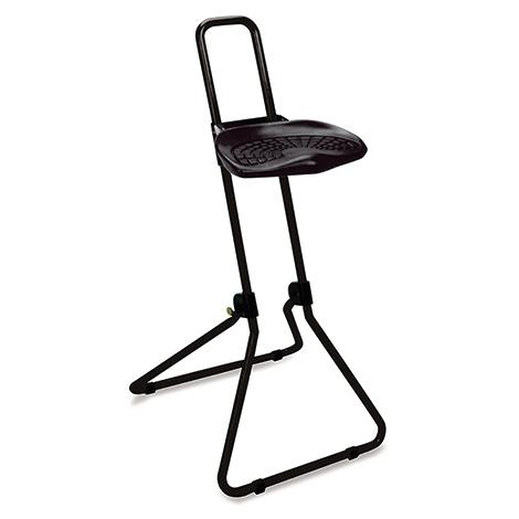 Klappbare Stehhilfe, ergon. geformter PU-Sitz, arretierbare Höhenverst., schwarz