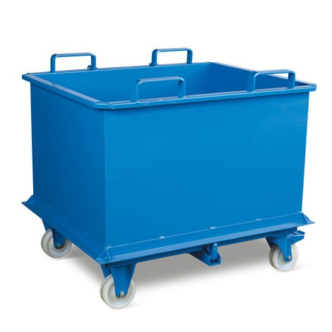 Klappbodenbehälter, mit automatischer Auslösung, mit Rollen, Volumen 0,5 m³
