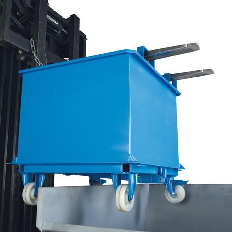Klappbodenbehälter, mit automatischer Auslösung, mit Rollen, Volumen 1 m³