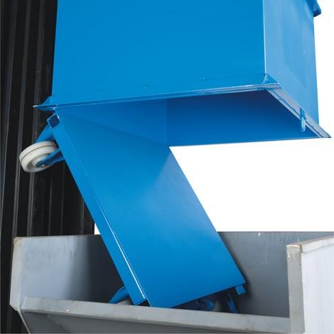 Klappbodenbehälter, mit automatischer Auslösung, mit Rollen, Volumen 1,5 m³
