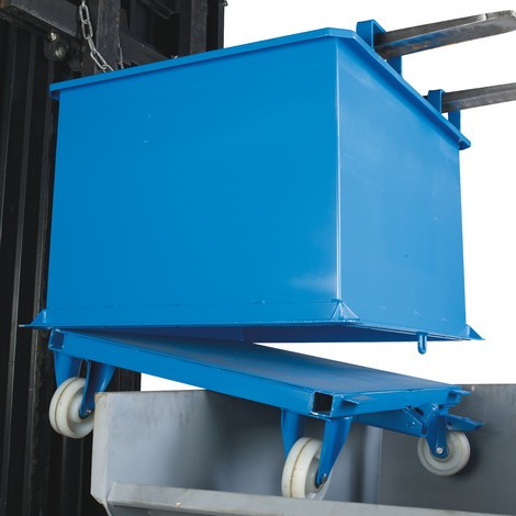 Klappbodenbehälter, mit automatischer Auslösung, mit Rollen, Volumen 2 m³