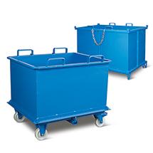 Klappbodenbehälter,autom. Ausl., TK 1250kg,1000l,mit Rollen