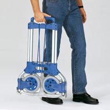 Klappkarre fetra® aus Aluminium. Tragkraft bis 125 kg, Schaufel 32x48 cm, blau