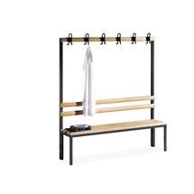 Kleedkamer-zitbank,houten planken+haken+schoenenrek,l.1500mm
