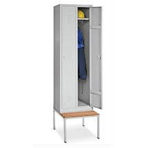 Kleiderspind BASIC mit untergebauter Sitzbank. Bis 3 Abteile à 300mm