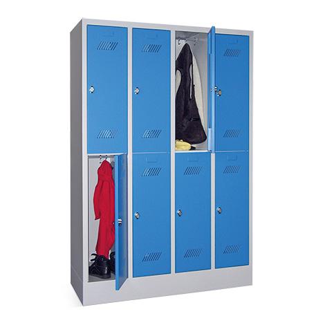 Kleiderspind mit 8 Fächern + Sockel + Drehriegelverschluss, Breite 1230 mm