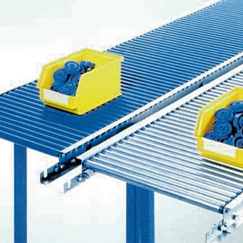 Klein-Rollenbahnen, Tragrollen aus verzinktem Stahlrohr, Kurve 45°