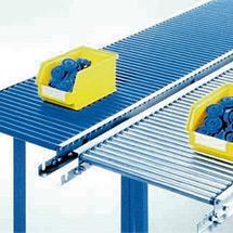 Klein-Rollenbahnen, Tragrollen aus verzinktem Stahlrohr, Kurve 90°