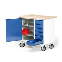 Kleine compacte werkbank met draaideurkast + laden, verrijdbaar