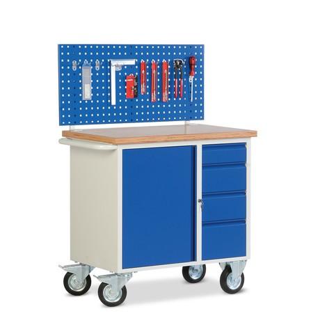Kleine Kompaktwerkbank mit Flügeltürschrank + Schubladen + Multiwandaufbau, fahrbar